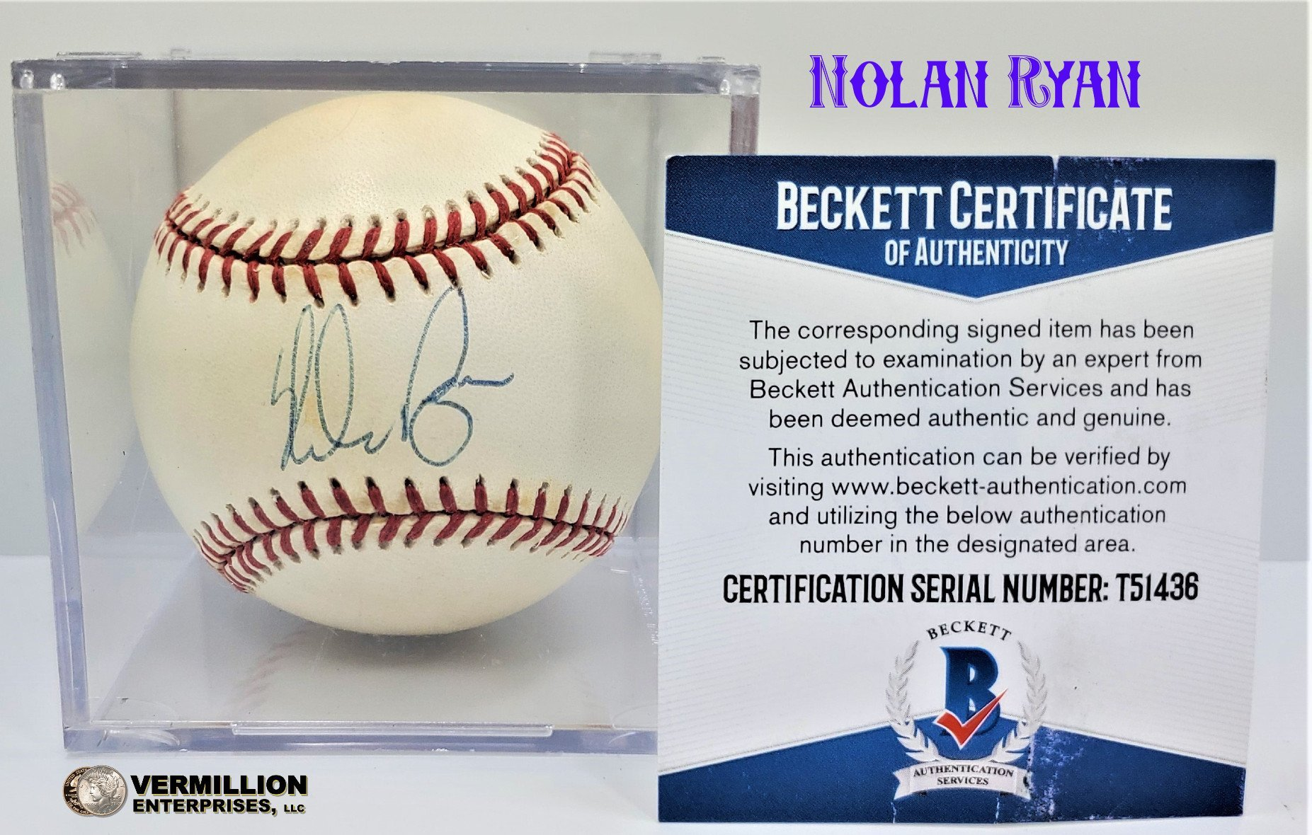 Vermillion enterprises buys nolan ryan beckett authenticated autograph baseballs and sports memorabilia. Including Graded Sports Cards and Pre-1980 Raw Sports Cards - 5324 Spring Hill Drive Spring Hill FL 34606 (352) 585-9772